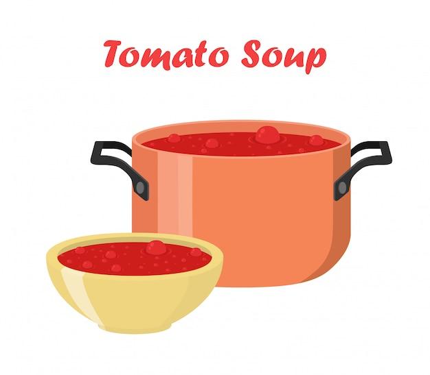 Sopa de tomate na tigela, prato. comida quente