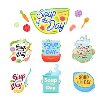 Sopa do dia cozinhando conjunto de ícones de letras.