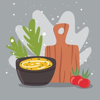 Sopa e tábua de cozinha
