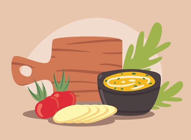 Sopa e vegetais