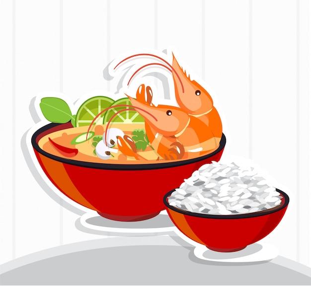 Sopa picante de tom yum kung thai, comida tailandesa