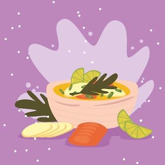 Sopa vegetariana e vegetais