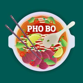 Sopa vietnamita tradicional de pho bo.