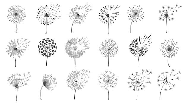 Soprando sementes de dente de leão. silhuetas de flores fofas de desejo, flores de primavera-leão sopradas pelo vento. conjunto de vetores de design de logotipo floral natureza. voando com vários botões de plantas isolados no branco