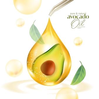 Soro de óleo essencial natural de frutas realistas de abacate fresco