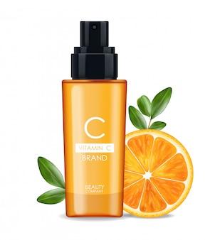 Soro de vitamina c, empresa de beleza, frasco de cuidados com a pele, pacote realista e citros frescos, essência do tratamento, cosméticos de beleza, fundo branco