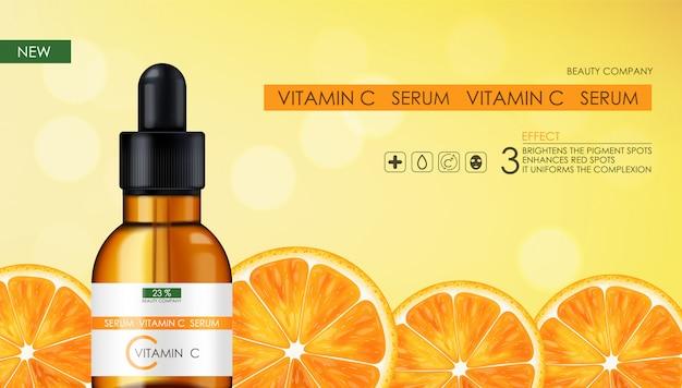 Soro de vitamina c, empresa de beleza, frasco de produtos para a pele, pacote realista e citros frescos, essência do tratamento, cosméticos de beleza