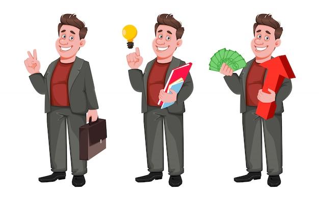 Sorridente empresário envelhecido médio, conjunto de três poses