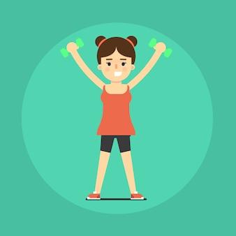 Sorridente garota fitness fazendo exercício
