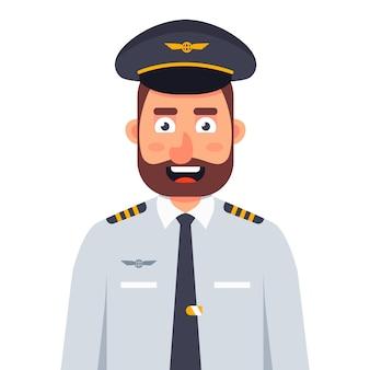 Sorridente piloto de avião de uniforme e gravata em um fundo branco. ilustração de personagem plana.