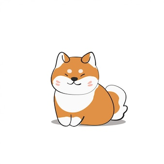 Sorrindo cão shiba inu mão desenhada estilo ilustração