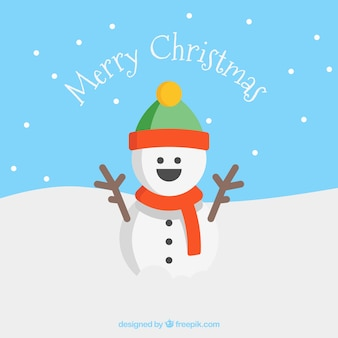 Sorrindo cartão do boneco de neve