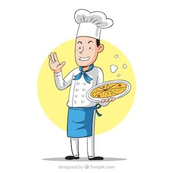 Sorrindo chef com pizza deliciosa