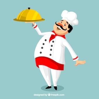 Sorrindo, cozinheiro, bandeja