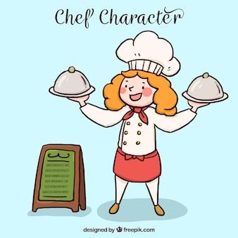 Sorrindo, cozinheiro, dois, bandejas