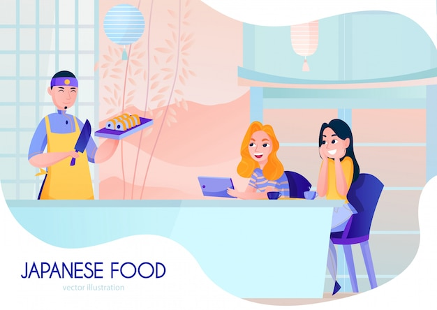 Sorrindo cozinheiro servindo sushi no restaurante japonês dos desenhos animados