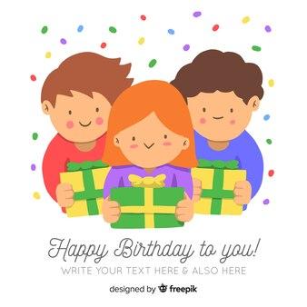 Sorrindo, crianças, segurando, presentes aniversário, fundo