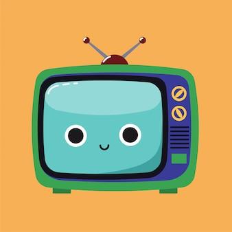 Sorrindo, cute, ilustração, de, um, antigas, aparelho de televisão