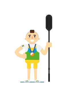 Sorrindo desportista de remo de canoa com medalha