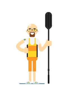 Sorrindo desportista de remo de canoa com remo