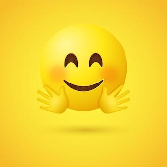 Sorrindo e abraçando o rosto de um emoji com as mãos abertas ou um emoticon sorridente em 3d dando um abraço