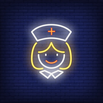 Sorrindo, enfermeira hospital, sinal néon