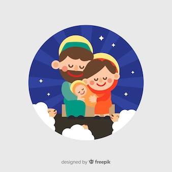 Sorrindo, família, retrato natividade