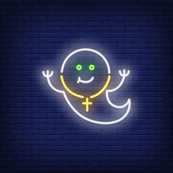 Sorrindo, fantasma, sinal néon
