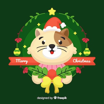Sorrindo, gato, natal, fundo