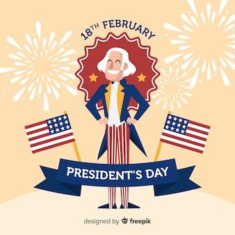 Sorrindo, george washington, presidente, dia, fundo
