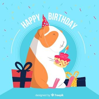 Sorrindo, hamster, aniversário, fundo