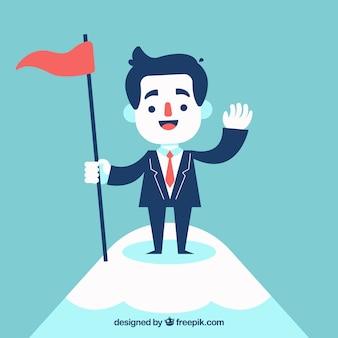 Sorrindo, homem negócios, topo, montanha