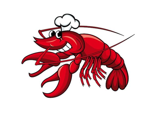 Sorrindo lagostim vermelho ou camarão isolado no branco