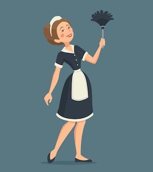 Sorrindo, limpeza, mulher, ilustração