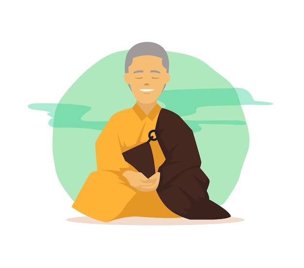 Sorrindo monge budista em poses de meditação