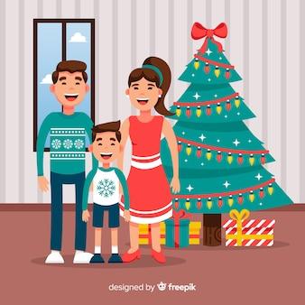 Sorrindo, natal família, ilustração