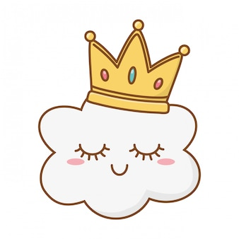 Sorrindo, nuvem, com, coroa