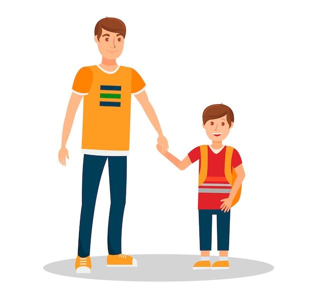 Sorrindo, pai, com, filho, apartamento, vetorial, ilustração