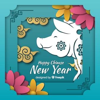 Sorrindo, porco, ano novo chinês, fundo