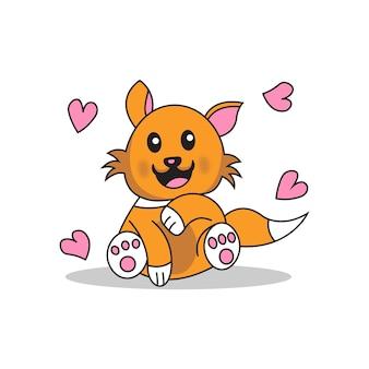 Sorriso adorável de gato com ilustração de coração de amor