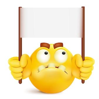 Sorriso amarelo redondo personagem rosto com modelo de banner de mensagem