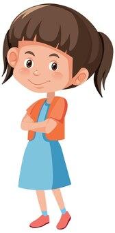 Sorriso bonito de garota em pose de personagem de desenho animado isolado no fundo branco