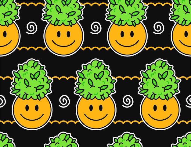 Sorriso bonito engraçado feliz rosto e erva daninha maconha folhas botões padrão sem emenda. projeto de ilustração em vetor kawaii dos desenhos animados. erva daninha fofa maconha, erva daninha, cannabis, conceito de padrão sem emenda de rosto de sorriso