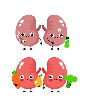Sorriso bonito feliz saudável com brócolis e maçã e tristes rins doentes com garrafa de álcool e cigarro. personagem de desenho animado moderno ilustração ícone do design. rins saudáveis e insalubres