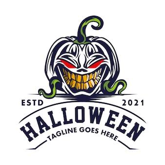 Sorriso de abóbora de halloween logo para entretenimento global bom para qualquer indústria