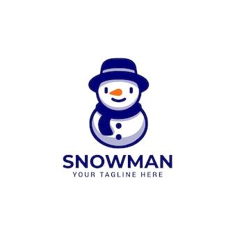 Sorriso de boneco de neve com logotipo do mascote de chapéu e lenço