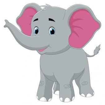 Sorriso de elefante bebê feliz bonito dos desenhos animados