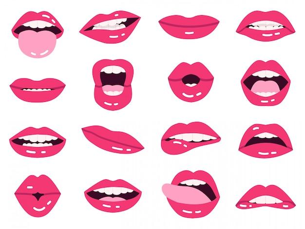 Sorriso de lábios dos desenhos animados. belos lábios cor de rosa, beijando, mostram a língua, sorrindo com a boca expressiva de dentes, conjunto de ilustração de lábios de meninas. conjunto de senhora quente lábios impudentes e rosa