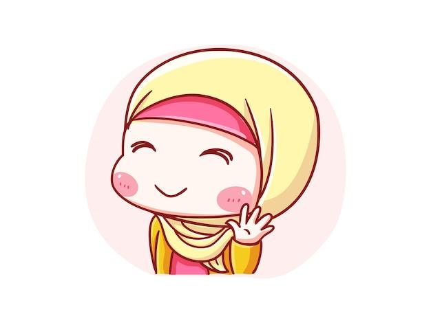 Sorriso de menina fofa e kawaii hijab e ilustração acenando olá chibi