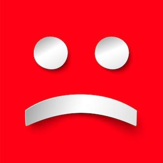 Sorriso de papel branco de solidão triste sobre fundo vermelho. ilustração em estilo de papel com sombra. emoticon depressivo de vetor